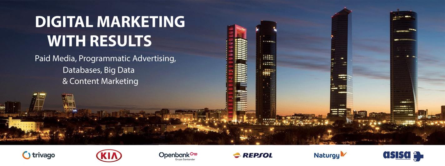 foto de las cuatro torres de madrid con el claim en inglés de la agencia de marketing digital addvaluemedia.com